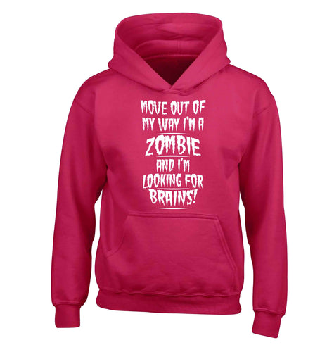 I'm a zombie and I'm looking for brains! children's pink hoodie 12-13 Years