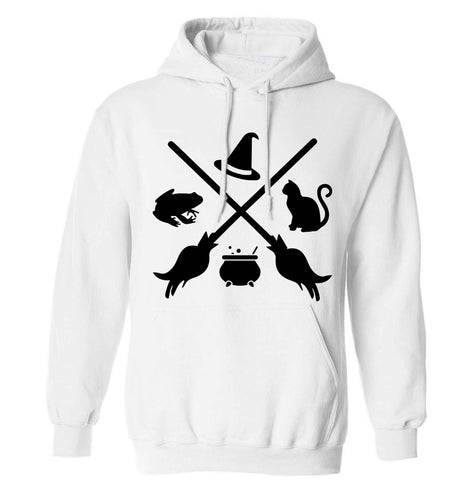 Witch symbol adults unisex white hoodie 2XL