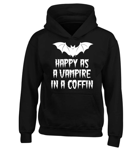 Happy as a vampire in a coffin children's black hoodie 12-13 Years