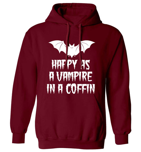 Happy as a vampire in a coffin adults unisex maroon hoodie 2XL