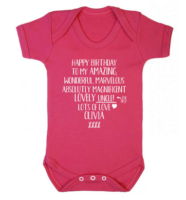 Personalised happy birthday to my amazing, wonderful, lovely uncle Baby Vest dark pink 18-24 months