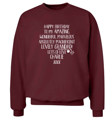 Personalised happy birthday to my amazing, wonderful, lovely grandad Adult's unisex maroon Sweater 2XL