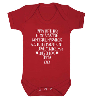 Personalised happy birthday to my amazing, wonderful, lovely niece Baby Vest red 18-24 months