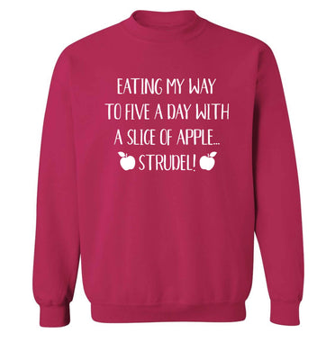 Eating my way to five a day with a slice of apple strudel Adult's unisex pink Sweater 2XL