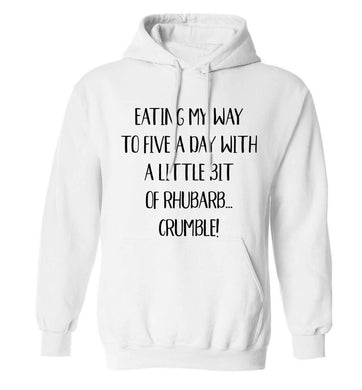 Eating my way to five a day with a little bit of rhubarb crumble adults unisex white hoodie 2XL