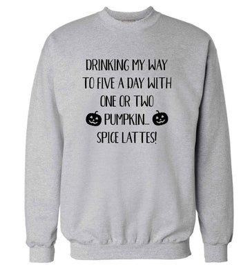 5 a Day Pumpkin Lattes adult's unisex grey sweater 2XL