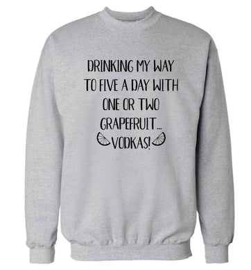 Drinking my way to five a day with one or two grapefruit vodkas Adult's unisex grey Sweater 2XL