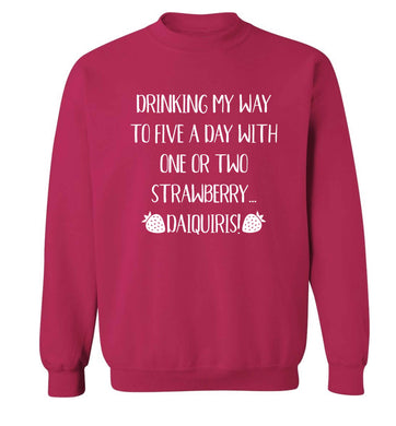 Drinking my way to five a day with one or two straberry daiquiris Adult's unisex pink Sweater 2XL