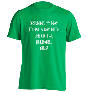 Drinking my way to five a day with one or two rhubarb gins adults unisex green Tshirt 2XL