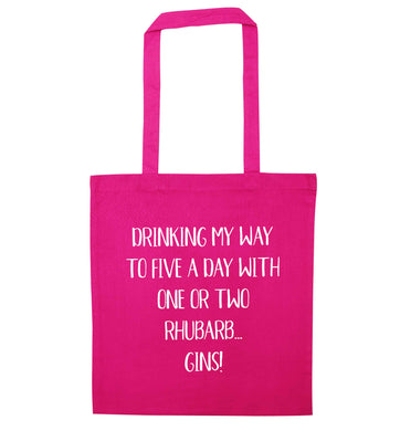 Drinking my way to five a day with one or two rhubarb gins pink tote bag