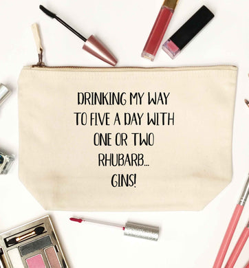 Drinking my way to five a day with one or two rhubarb gins natural makeup bag