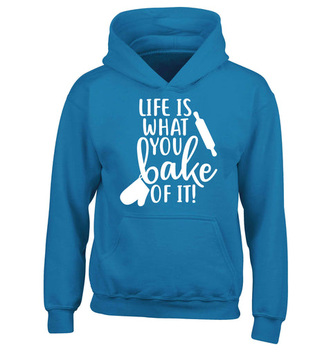 Life is what you bake of it children's blue hoodie 12-13 Years