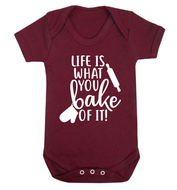 Life is what you bake of it Baby Vest maroon 18-24 months