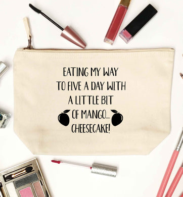 Eating my way to five a day with a little bit of mango cheesecake natural makeup bag