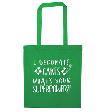 I decorate cakes what's your superpower?! green tote bag