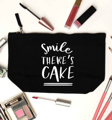 Smile there's cake black makeup bag
