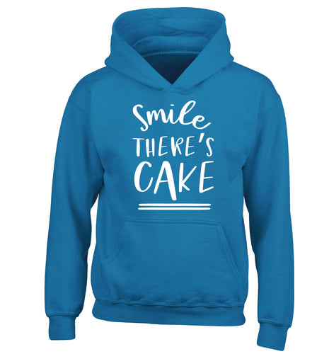 Smile there's cake children's blue hoodie 12-13 Years