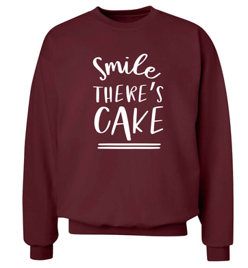 Smile there's cake Adult's unisex maroon Sweater 2XL