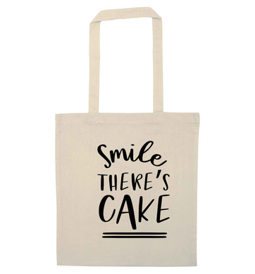 Smile there's cake natural tote bag