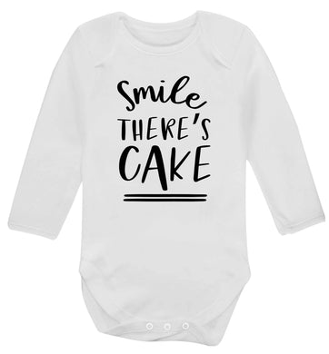 Smile there's cake Baby Vest long sleeved white 6-12 months