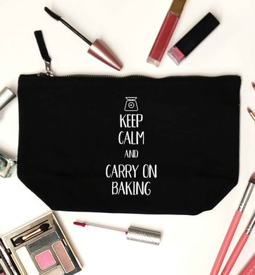 Keep calm and carry on baking black makeup bag