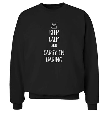 Keep calm and carry on baking Adult's unisex black Sweater 2XL