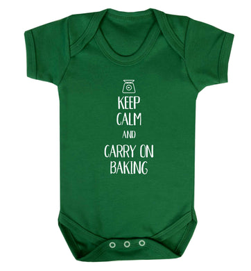 Keep calm and carry on baking Baby Vest green 18-24 months