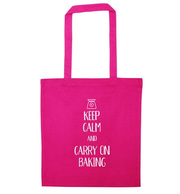 Keep calm and carry on baking pink tote bag
