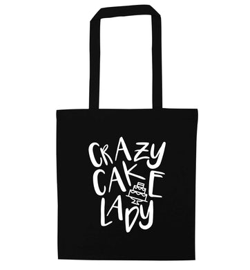 Crazy cake lady black tote bag