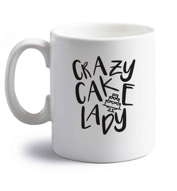 Crazy cake lady right handed white ceramic mug