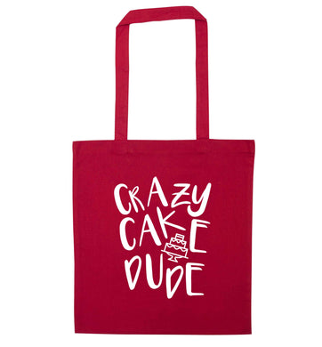 Crazy cake dude red tote bag