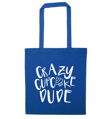 Crazy cupcake dude blue tote bag