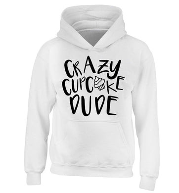 Crazy cupcake dude children's white hoodie 12-13 Years