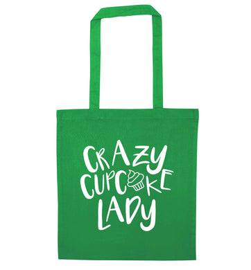 Crazy cupcake lady green tote bag