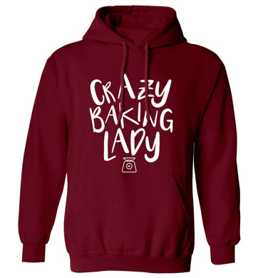 Crazy baking lady adults unisex maroon hoodie 2XL
