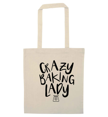 Crazy baking lady natural tote bag