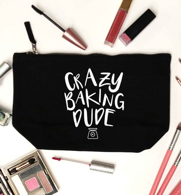 Crazy baking dude black makeup bag