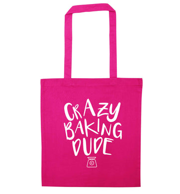 Crazy baking dude pink tote bag