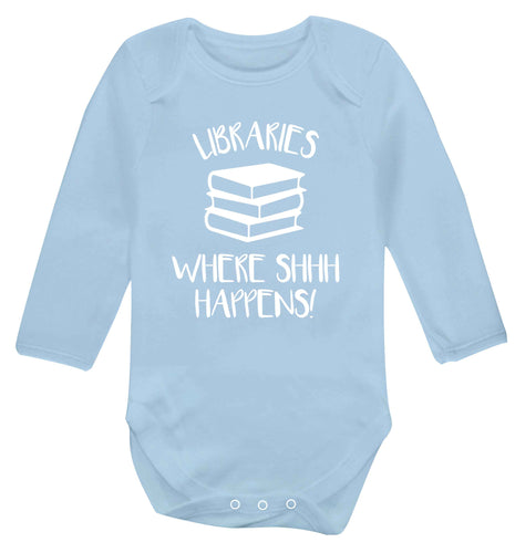 Libraries where shh happens! Baby Vest long sleeved pale blue 6-12 months
