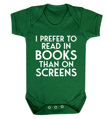 I prefer to read in books than on screens Baby Vest green 18-24 months