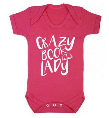 Crazy book lady Baby Vest dark pink 18-24 months