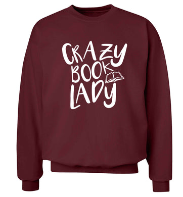 Crazy book lady Adult's unisex maroon Sweater 2XL