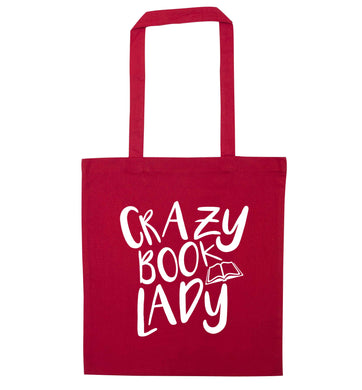 Crazy book lady red tote bag