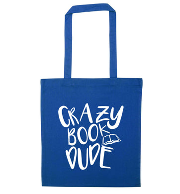 Crazy book dude blue tote bag