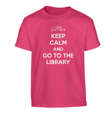 Keep calm and go to the library Children's pink Tshirt 12-13 Years