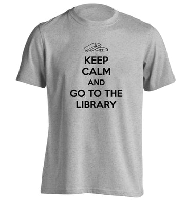 Keep calm and go to the library adults unisex grey Tshirt 2XL