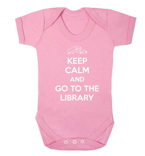 Keep calm and go to the library Baby Vest pale pink 18-24 months