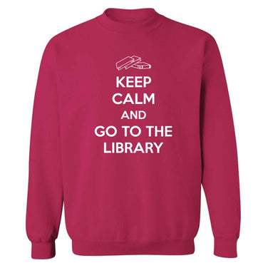Keep calm and go to the library Adult's unisex pink Sweater 2XL