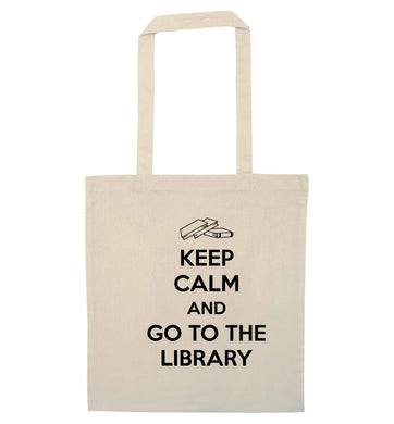 Keep calm and go to the library natural tote bag