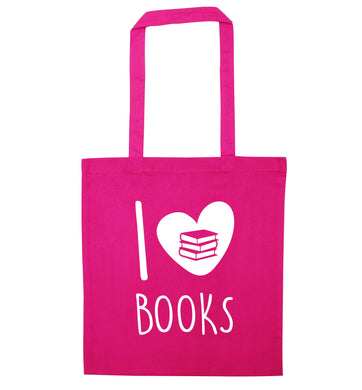 I love books pink tote bag